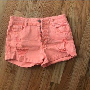 NWOT Orange/Coral Destroyed Jean Shorts Size 6